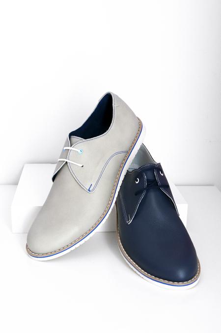 δερμάτινο λαδί μπλέ καθημερινό παπούτσι